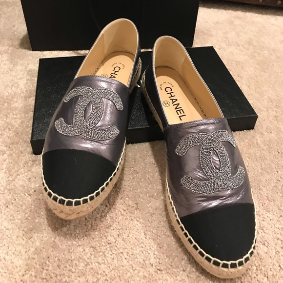CHANEL Shoes - 2019 CHANEL Lambskin CC Espadrilles true US size 9